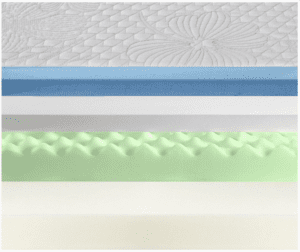 "Cutaway view of 10"" Olee Sleep memory foam mattress"